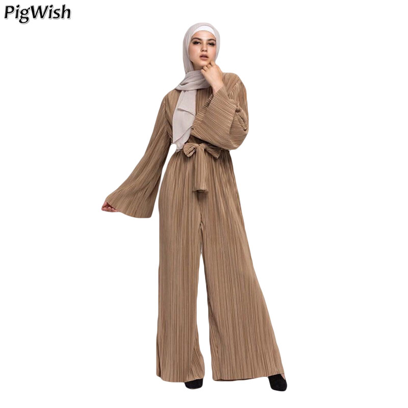 c311e1d55d 2018 Abaya Dubai Muslim Pleated Jumpsuit Women Rompers Wide Leg Pants Islamic  Turkish Clothing Arabic Eid Mubarak Moroccan