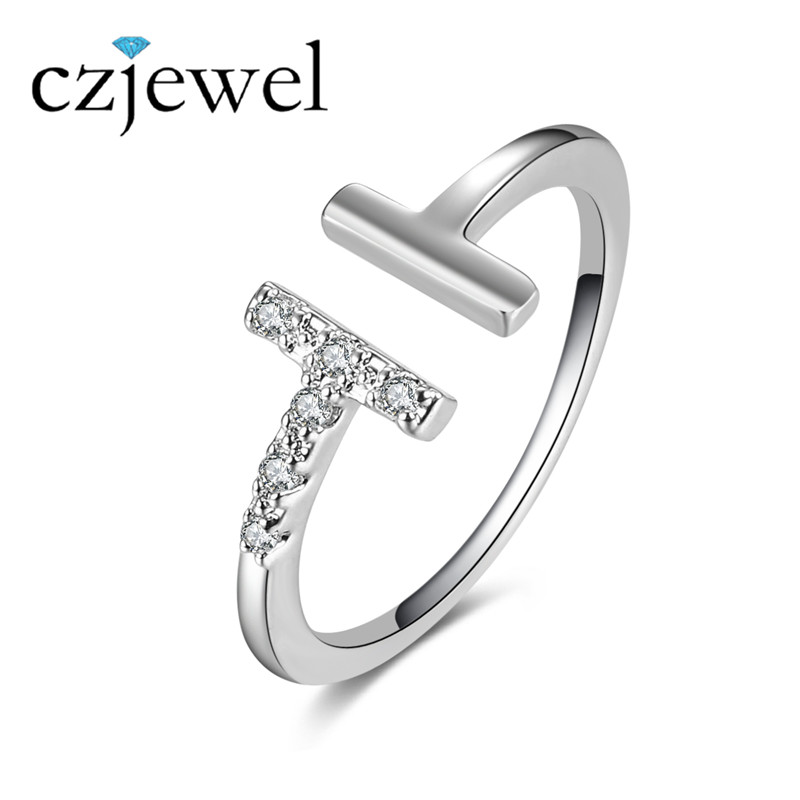 Fashion Silver Color Word T Shape Open Ring Paved Tiny CZ Stone For Women Jewelry