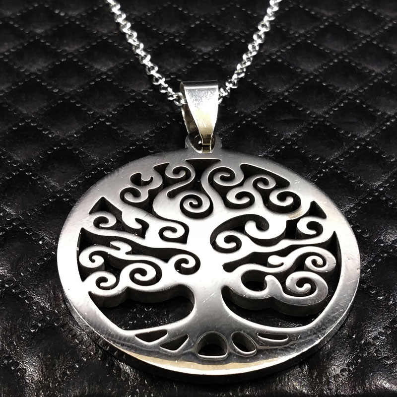 2019 New Cloud Tree of Life Stainless Steel Necklace for Women Silver Color Maxi Necklace Women Jewelry collares mujer N74113b