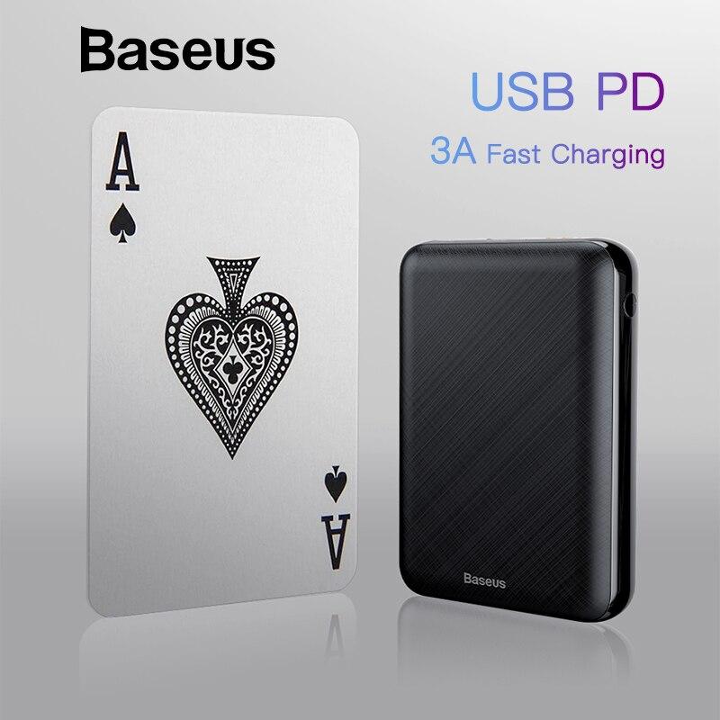 Baseus 10000 mAh USB PD 3A de carga rápida banco de potencia para iPhone Xs USB de carga de energía para Samsung xiaomi Huawei banco