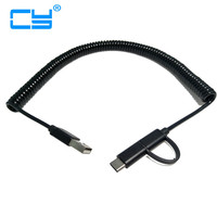 3M 10ft Spring Usb3 1 Type C Date Sync Charge Stretch Cord Cable And Micro Usb