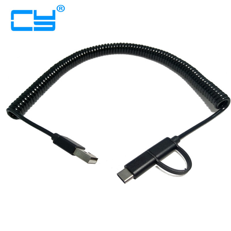 3M/10ft Spring Usb3.1 Type-c Date Sync Charge Stretch Cord Cable And Micro Usb 5p Flexib ...