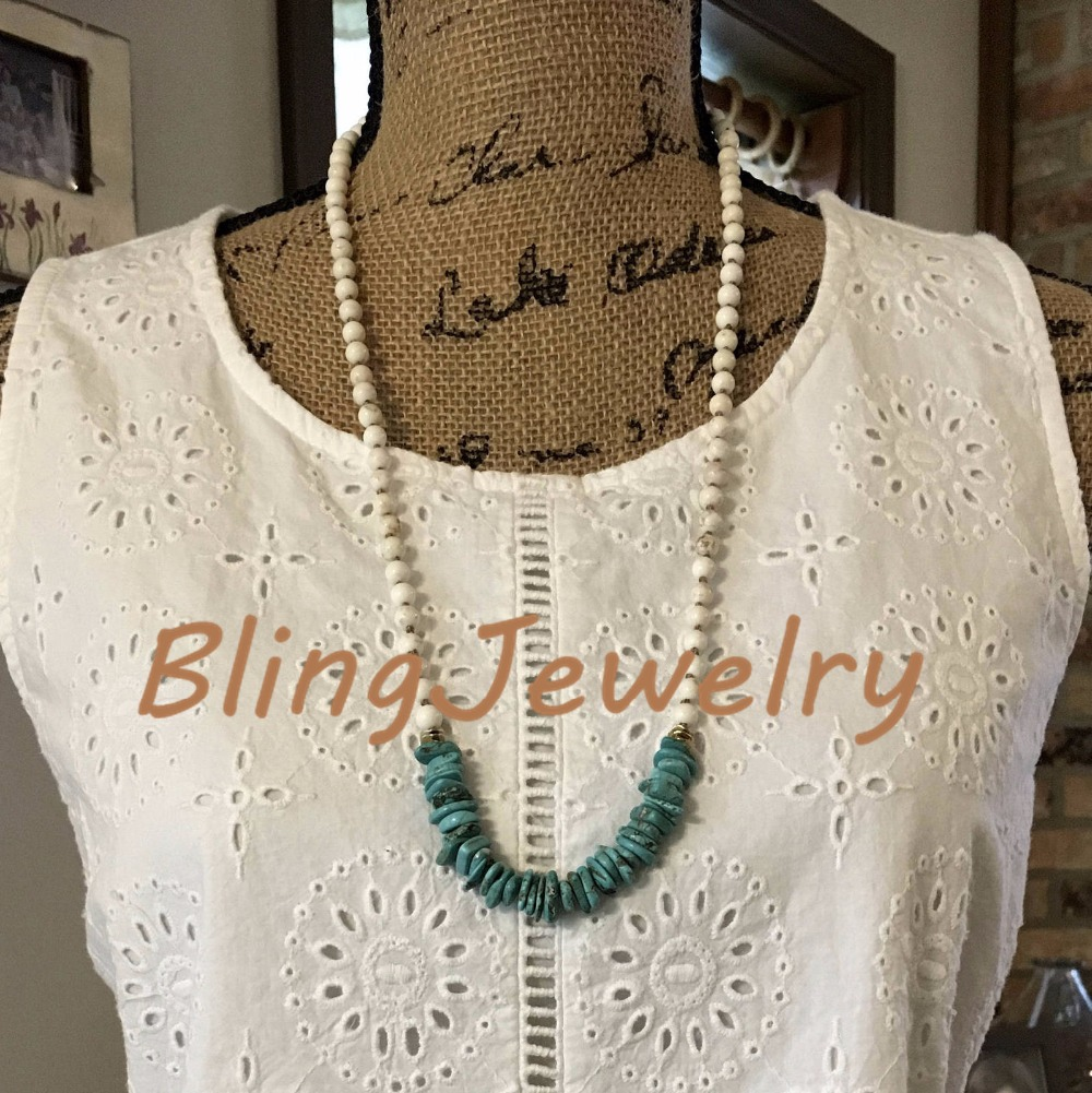Blue Turquoises Chips Necklace Beige Howlite Beads Layering Hand Knot Beads Necklace for Women N18030601