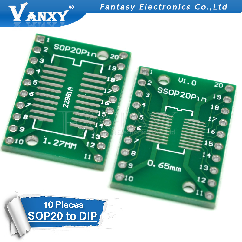 10PCS TSSOP20 SSOP20 SOP20 To DIP20 PCB Transfer Board DIP Pin Board Pitch Adapter