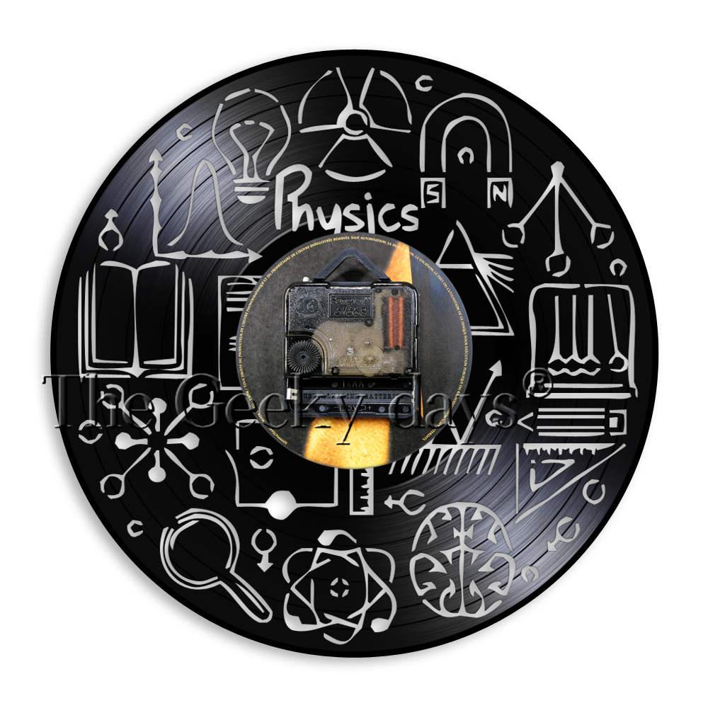 Physics Vinyl Record Wall Clock Study Theme Classroom Physics Experiment Wall Art Decorative Clock Gift For Physics Teachers