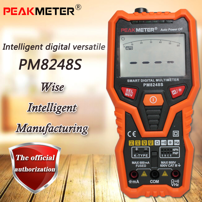 PEAKMETER PM8248S intelligent digital multimeter, true RMS digital multimeter resistance / capacitance / frequency / temperature my68 handheld auto range digital multimeter dmm w capacitance frequency