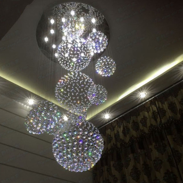 Best Price Modern K9 Crystal Chandelier Large Hotel Led Staircase Light Re Ball Design