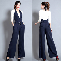 2018 Autumn Winter Women Solid Jumpsuit Slim Bodysuits Sleeveless Suspenders Sashes Casual Rompers Wide Leg Playsuits Ladies