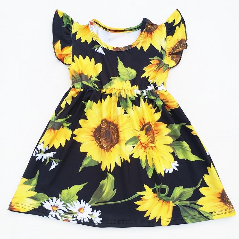 Baby Girls Summer Dress Clothing Girls Sunflower Printed Milk Silk Dress Children Floral Dress Boutique Clothing wholesale children s summer boutique princess dress girls red milk silk pearl dress