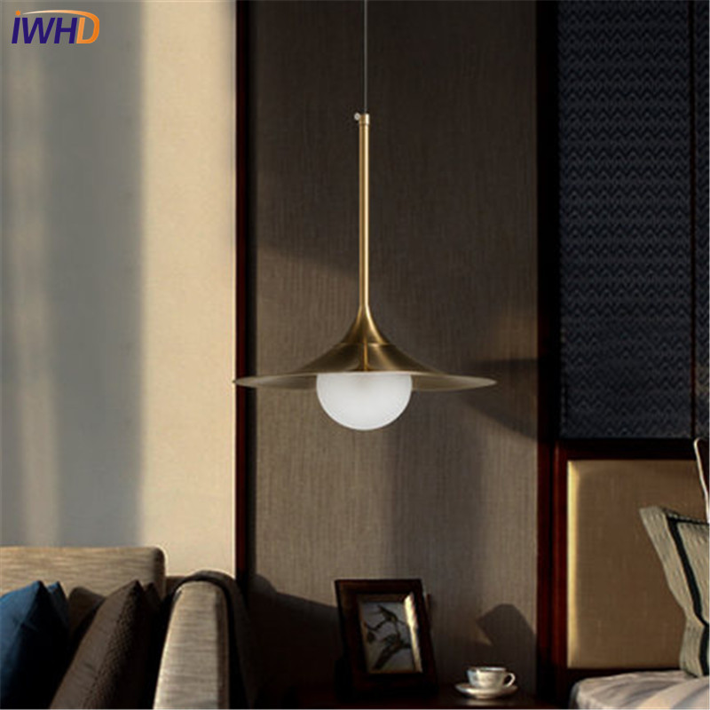 IWHD Loft Style Creative Iron Glass Droplight Modern LED Pendant Lamp Fixtures For Dining Room Hanging Light Home Lighting simple loft style plating metal mesh droplight modern led pendant light fixtures for dining room hanging lamp home lighting