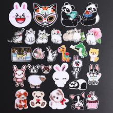 Sheep Cat Panda Cartoon Animal Embroidered Patches For Clothing DIY Stripes Applique Child Rabbit Stickers Iron On Badge