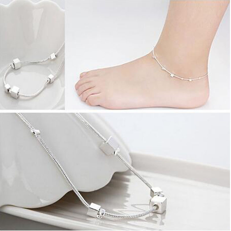 Fashion Designer 925 Tobillera De Plata Simple Anklet Foot Anklets For Women Barefoot Sandals Beach Leg Chain Jewelry