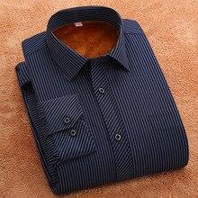 Shirt men warm fashion Winter striped & Plaid mens slim fit casual shirt Thickening long sleeve shirts Male Business Shirt