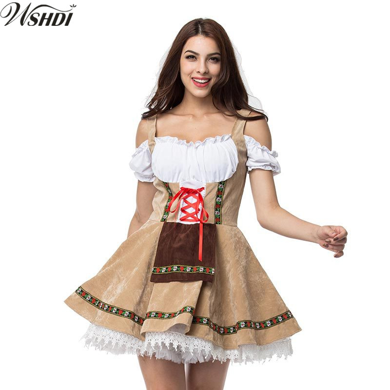 M-4XL New Carnival Festival October Beer Maid Costume German Oktoberfest Wench Maiden Dirndl Fancy Dress