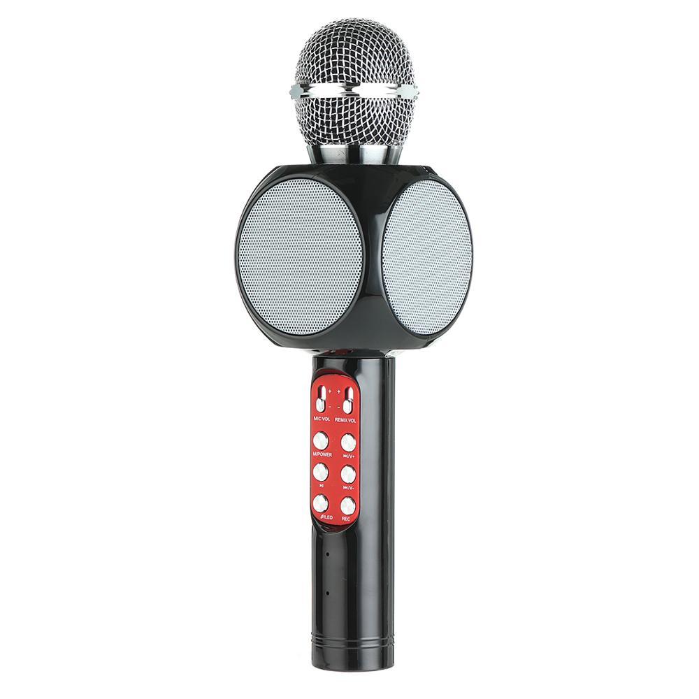 Wireless Bluetooth KTV Speaker Mini Home Mic Microphone Fashion Flash LED Light Hanheld Microphone For Mobile Phone Music Player