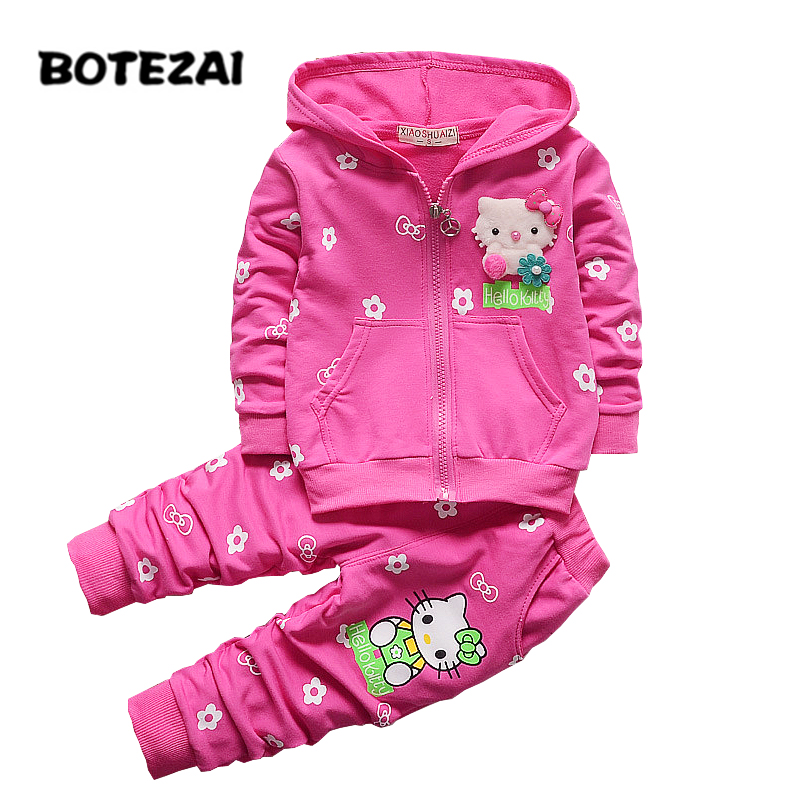 2017 Spring Autumn Baby Girls Clothes Set Cartoon Hello Kitty Casual Sport Hoodied Suit Children Cardigan Sweaters+Pant Set baby boy girl clothing set toddler clothes autumn cartoon tracksuits kids sport suit set coat pant 2pcs casual cardigan coats