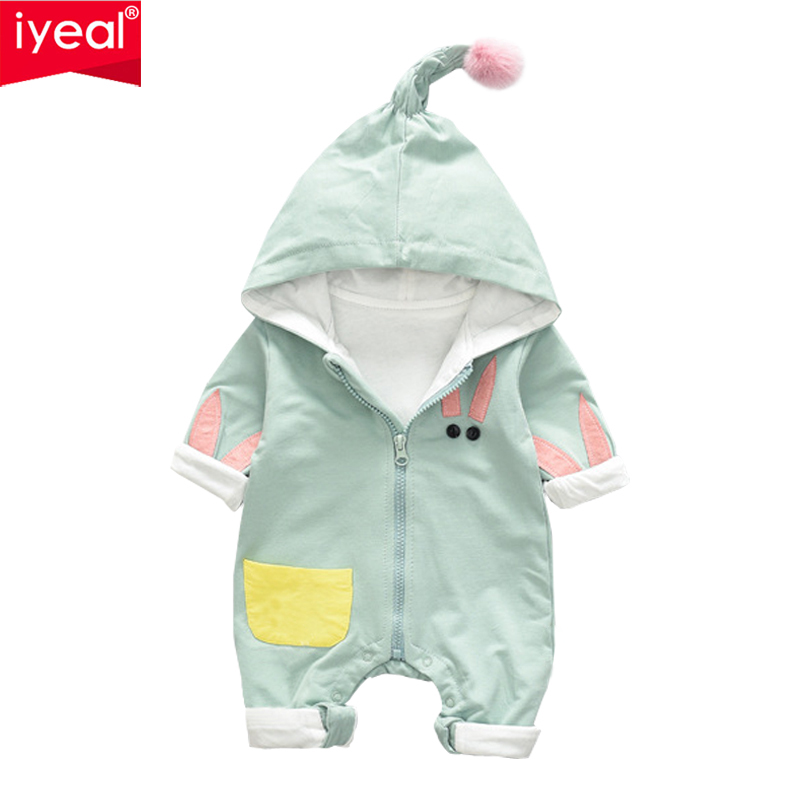 IYEAL Newborn Baby Rompers Spring Autumn Kid Infant Jumpsuit Cotton Long Sleeve Lovely Hooded Baby Boy Girl Outfit Clothes cotton newborn infant boy girl baby christmas romper jumpsuit outfit autumn winter long sleeve rompers