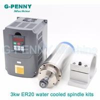 Sale 220V 3 0kw CNC Water Cooled Spindle Motor ER20 4kw VFD Variable Frequency Spindle Speed