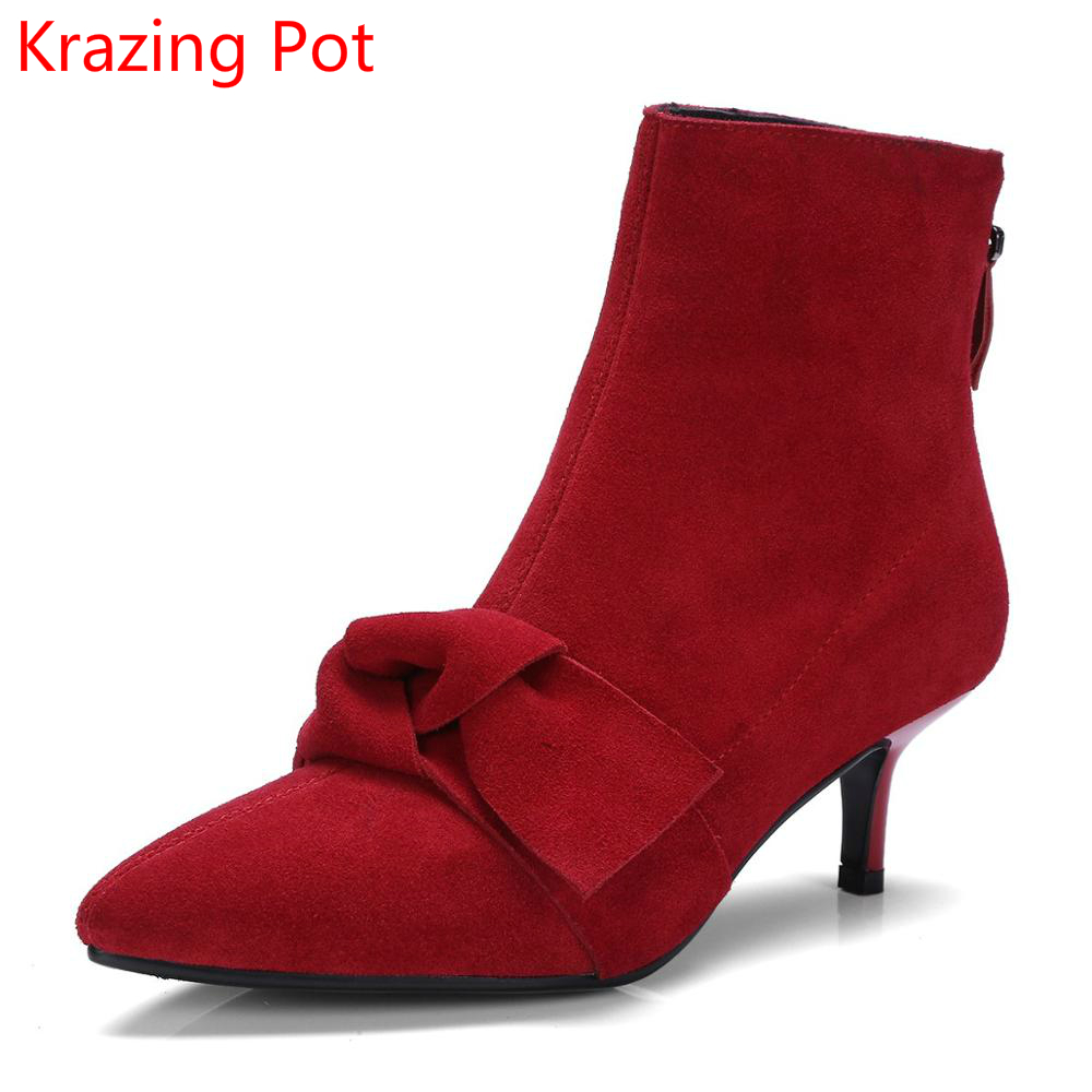 2018 Cow Suede Zipper Solid Bowtie Handmade Fashion Chelsea Boots Office Lady Superstar High Heels Nightclub Ankle Boots L15 2018 fashion cow leather zipper superstar winter boots women round toe low heel solid concise pregnant chelsea ankle boots l08