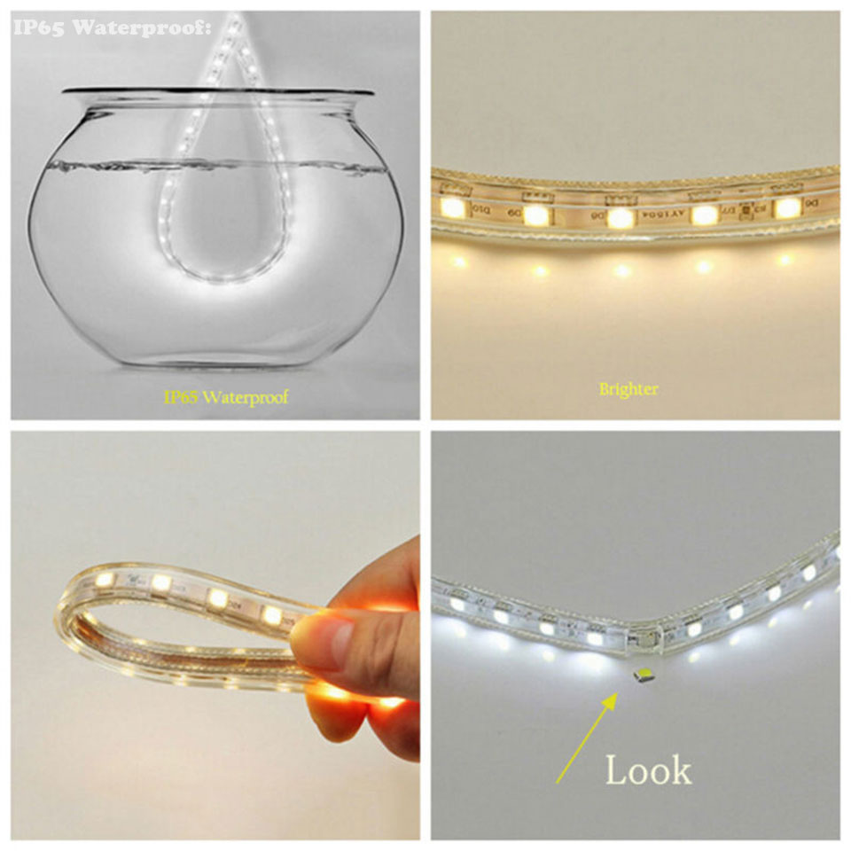 GD 13M 15M 20M 25M 35M 50M LED Strip With IR RF IP65 Waterproof or Bluetooth Remote Controller AC220V Dimmable LED Strip Light