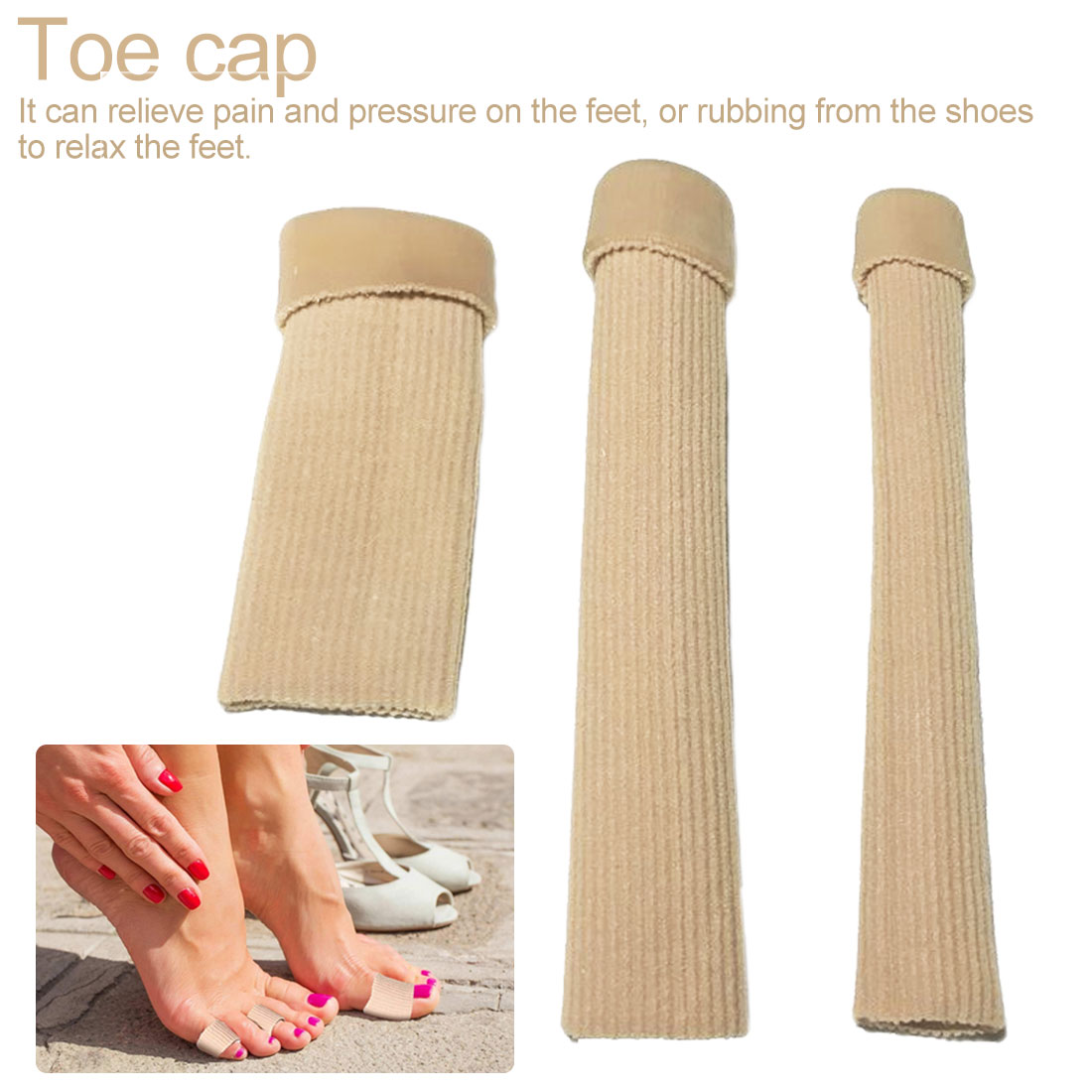 3 Size Can Be Cut Toe Set Ribbed Fabric Gel Tube Sleeve Cap For Finger Hammer Toe Cap Of Foot Protection For Toe Finger Care