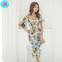 2019 summer new Korean style printed halter sexy straps Women's banquet sleeveless slim dress Knee Length V Neck