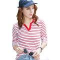 2016 Casual V Neck Stripe Blusa Women Spring Autumn Long Sleeve Cotton Tshirt Fashion Slim Good Quality Tee Tops Plus Size A597