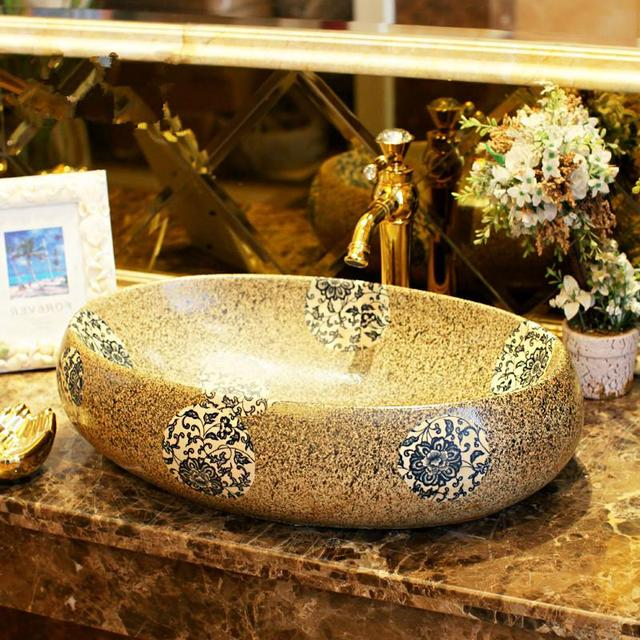 Colourful Imitation Stones Porcelain Bathroom Vanity Sink Bowl Countertop Oval Ceramic Wash Basin