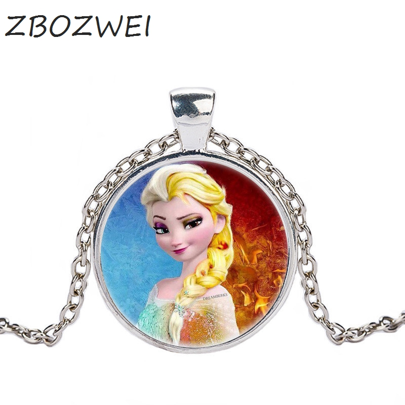 ZBOZWE 2018 Hot Elsa Anna Pendant Necklace Cartoon Jewelry Girl Round Glasses Necklace Women Girls Gift For Kids silver necklace