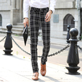 High Quality Casual Skinny Men's Pants Plaid Slim Male CITY FASHION Men BusinessTrousers free shipping