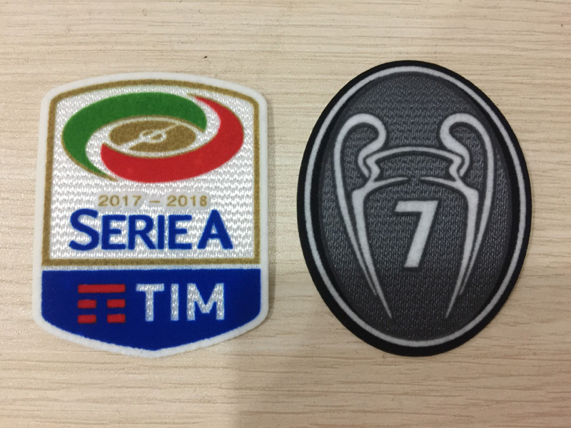 2 pcs Top quality Milan patch 17 18 Lega Calcio Serie A soccer patch+grey 7 times winners trophy patch 7th champion cup