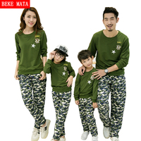 Family Matching Clothes T Shirt Spring Autumn Matching Mother Daughter Father Son Clothes Camouflage Pant Set