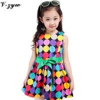 3 7T Children Dress Beach Girls Fashion Polka Dot Dress For Girls Sleeveless Bohemian Children Dress