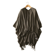 100 pure cashmere women s big shawl pure color warm winter autumn knitting tassel pashmina for