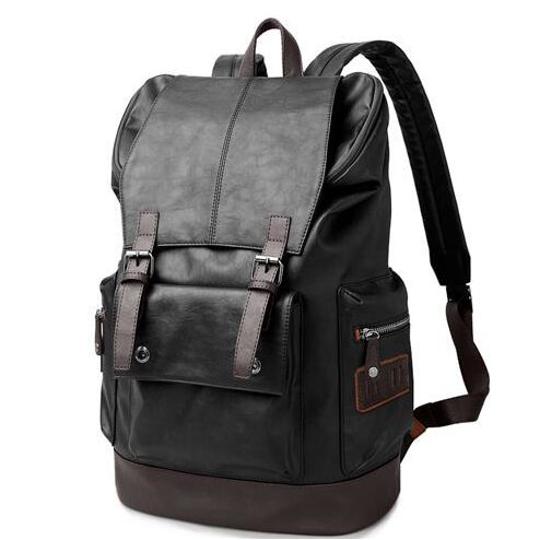 eb643512dbc0 Brand Quality black leather backpack man 15 Notebook Bag Backpack Men  fashion middle school bag with laptop pocket