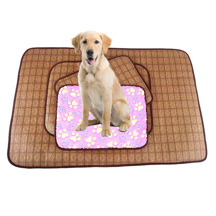 2 in 1 Bamboo Pet Dog Mat Summer Puppy Cooling Mat Pad Bed Blanket for Chihuahua Teddy Yorkshire Winter 4 Sizes 25