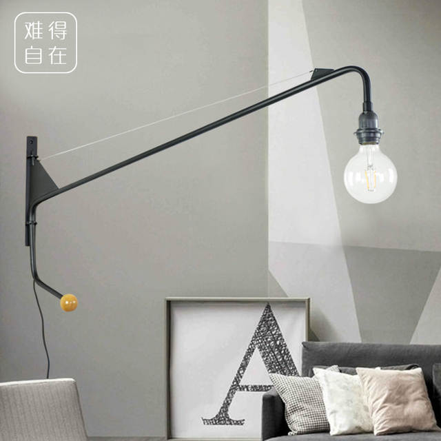 huge selection of 9a938 aaa5b US $139.0 |Vintage American Country Wall Lamp Loft designer Jean Prouve  Potence Wall Light Long Arm Sconce Bedroom Bedside Lighting-in Wall Lamps  from ...