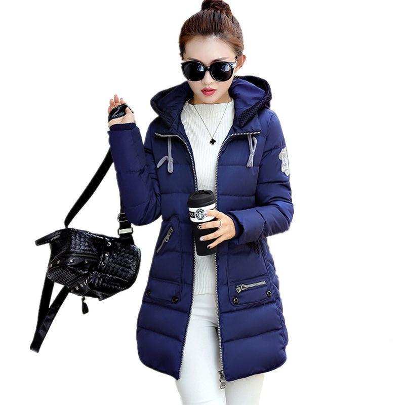 HOT 2017 New Winter Plus Size Women's   parkas   Jacket Coat Student Female Slim Was Thin Medium Long Cotton-Padded Jacket 8 colors