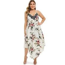 купить Print Floral Long Boho Bohemian Dress Plus Size Women Beach Summer Dress Sundress Lace Sexy V-Neck Strap Maxi Dress Long Tunic онлайн
