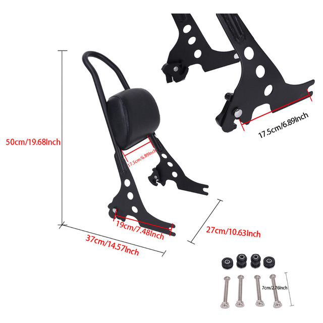 Motorcycle Luggage Rack Sissy Bar Rear Passenger Backrest Cushion Pad For Harley Sportster 883 1200 XLH XL 883C 883R 1200R MB315