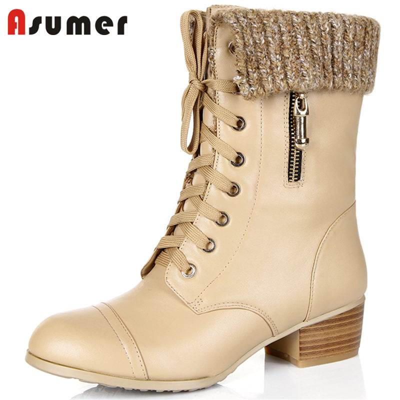ASUMER 2018 NEW fashion lace up genuine leather+PU boots wool thick med heel ankle boots for women round toe winter boots кожаные сумки vasheron v 9451 n polo d blue prada d blue