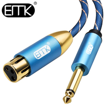цена на EMK Microphone Cable XLR Female to 1/4 Inch 6.35 mm TS Mono Male Plug Unbalanced Interconnect Cable Mic Cord for Dynamic