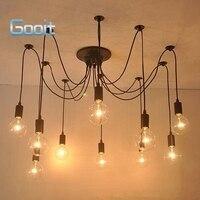 Edison Retro Spider Chandelier Lighting Ceiling Pendant 10 Lights 110 220V E27 ST64 G95 Led Crystal