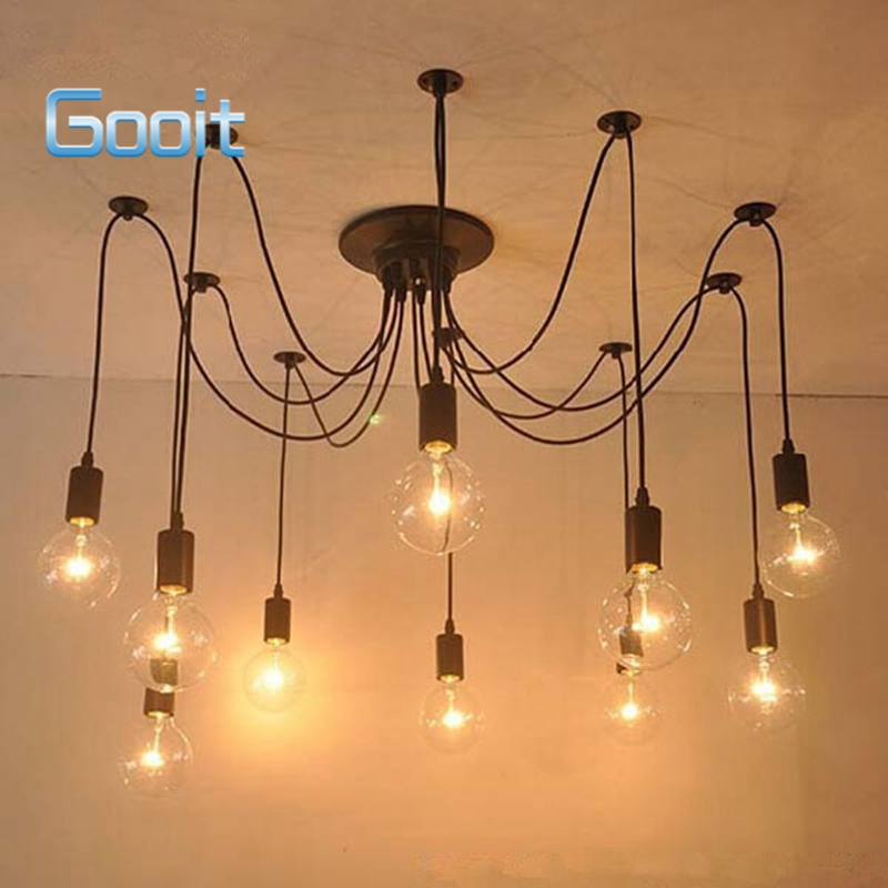 Edison Retro Spider Chandelier Lighting Ceiling Pendant 10 Lights 110-220V E27 ST64 G95 Led Crystal Living lamps diy vintage lamps antique art spider pendant lights modern retro e27 edison bulb 2 meters line home lighting suspension