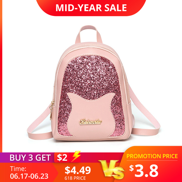 Girl's Small Backpack 2019 Brand Fashion Shining Sequin Shoulder Bag Women Multi-Function Mini Back pack for Teenage Girls Kids