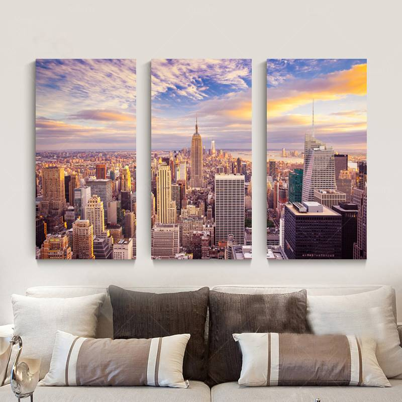 New York City Picture Canvas Painting Modern Wall Art: 3 Pieces Wall Art New York City Picture Canvas Painting