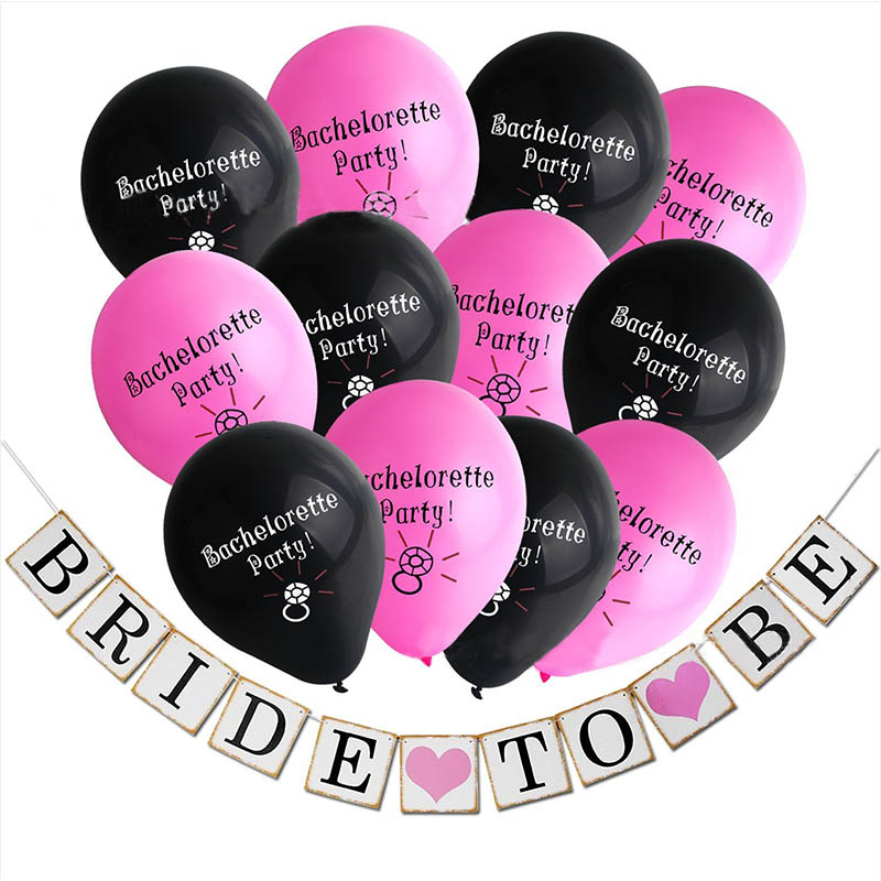 10 Bride to Be Banner String Flag Latex Balloon Girls Night Wedding Bachelorette Party Decorations Set Supplies