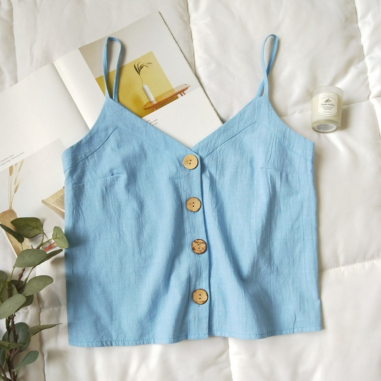Cotton Linen V-neck Camisole Summer Women Vintage Buttons Cotton Linen Tops Sleeveless Crop Tops 3