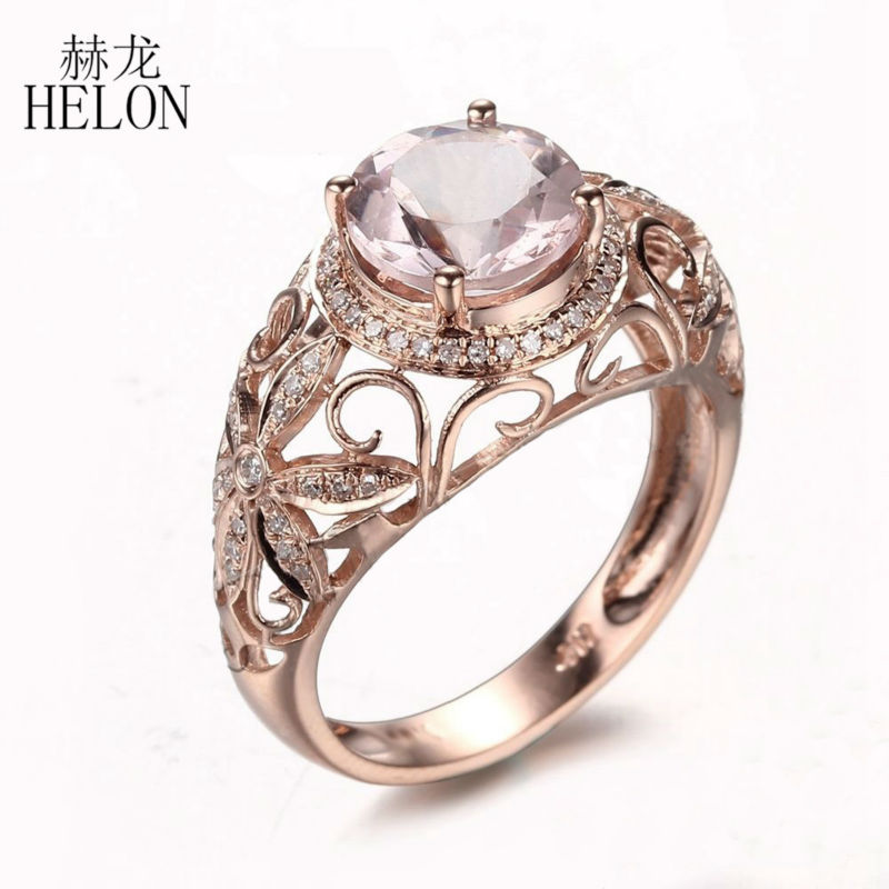 HELON Solid 10K Rose Gold 1.9ct Natural Morganite & 0.25ct Diamonds Ring Engagement Wedding Ring Women Gift Party Fine JewelryHELON Solid 10K Rose Gold 1.9ct Natural Morganite & 0.25ct Diamonds Ring Engagement Wedding Ring Women Gift Party Fine Jewelry