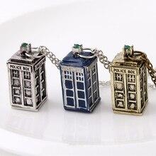 Dr Doctor Who collar Tardis policía caja teléfono británico cabina Londres Reino Unido Vintage azul colgante película joyería Mujer al por mayor
